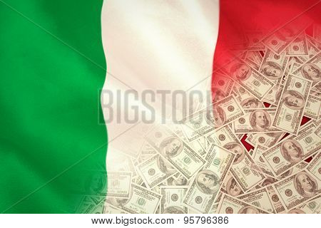 Pile of dollars against digitally generated italian national flag