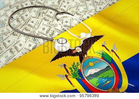 stethoscope against digitally generated ecuador national flag
