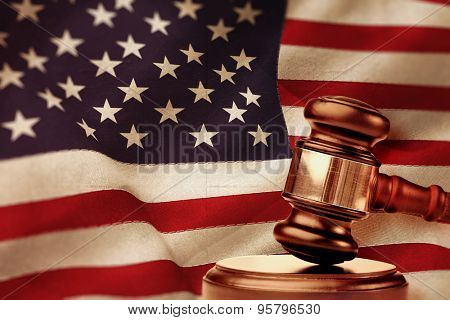 Hammer and gavel against united states of america flag