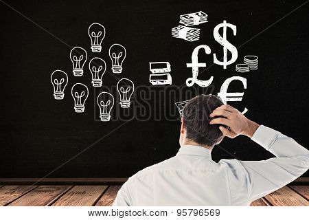 Businessman scratching his head against black room
