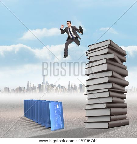 Cheerful businessman in a hurry against city on the horizon