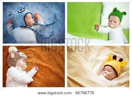 set of sleeping baby in animal hats