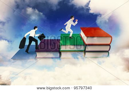 Side view of walking tradesman with jacket and suitcase against blue sky over clouds