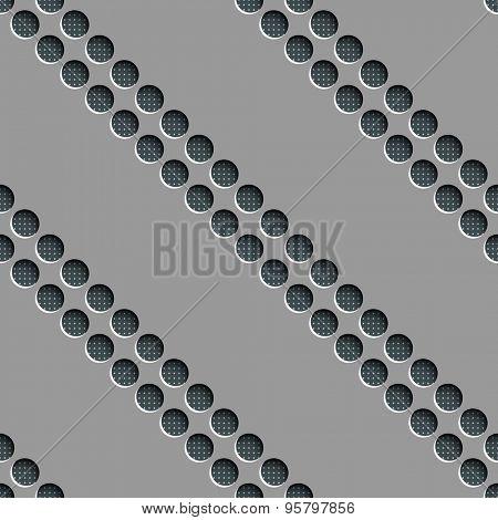 Seamless Circle and Diagonal Stripe Pattern. Vector Gray Regular Texture