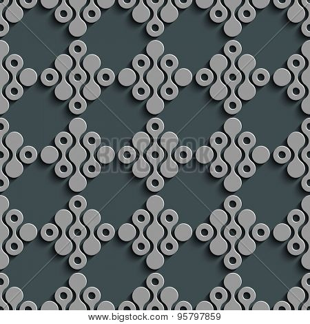 Seamless Grid Wallpaper. Vector Oriental Pattern. Gray Regular Texture