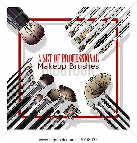 set of professional makeup brushes