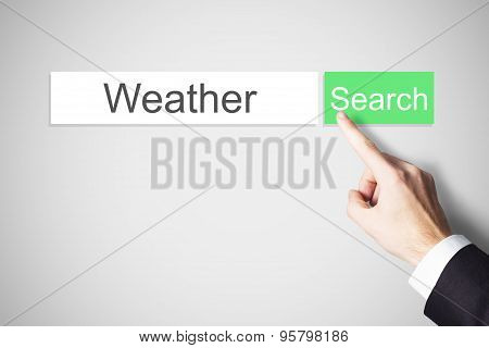 Finger Pushing Green Web Search Button Weather