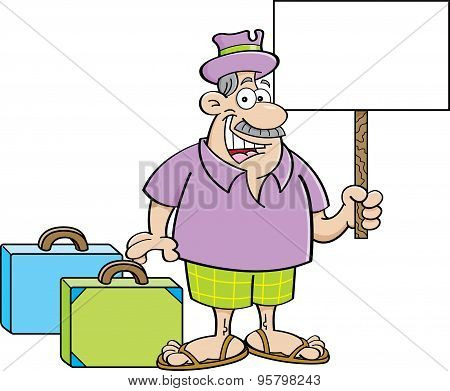 Cartoon illustration of a man with suitcases and holding a sign.