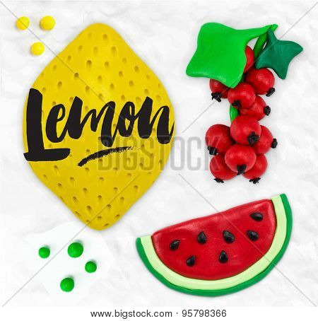 Plasticine fruits lemon