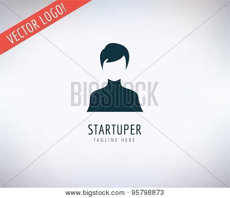 Man vector logo icon. Business, bank and lawer symbol. Stocks design elements