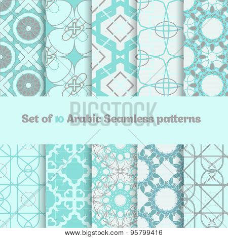 Vector Set Of Geometric Arabic  Patterns In Light Colors.