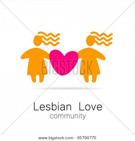 Lesbian love - logo, icon design.