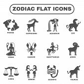 picture of pisces horoscope icon  - Zodiac and horoscope symbols black flat icons set isolated vector illustration - JPG