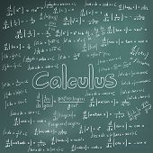 Постер, плакат: Calculus Law Theory And Mathematical Formula Equation Doodle Handwriting Icon In Blackboard Backgro