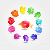 stock photo of pisces horoscope icon  - 12 signs of the zodiac watercolor texture  - JPG