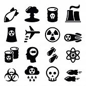 stock photo of fukushima  - Nuclear power plant vector icons set isolated on white - JPG