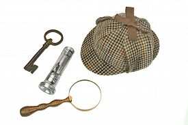 picture of investigation  - Sherlock Holmes Deerstalker Cap Vintage Magnifying Glass Retro Flashlight And Old Rusty Key Isolated On White Background - JPG