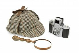 image of investigation  - Sherlock Holmes Deerstalker Cap Vintage Magnifying Glass And Retro Camera Isolated On White Background - JPG