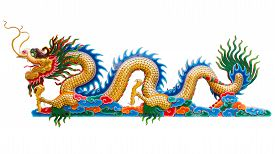foto of dragon  - Chinese golden dragon statue isolate on white background - JPG