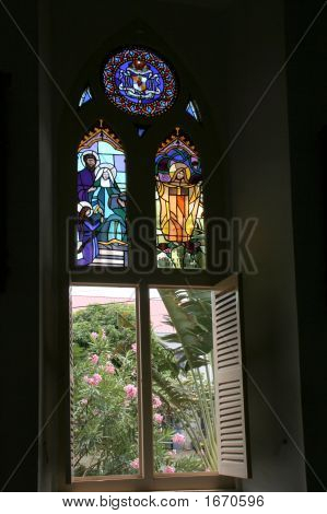 Window In The Cathedral On Dominica