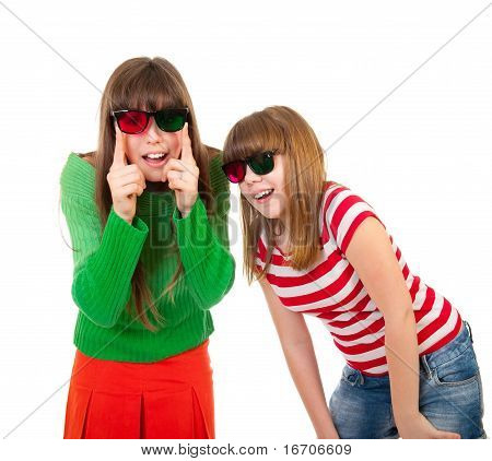 Sisters Having Fun While Watching 3D Movie