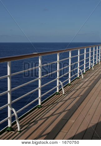 White Rail Of Cruise Ship
