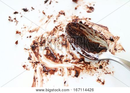 Dirty Dish with Tea Spoon after Eating Chocolate Cake Close up