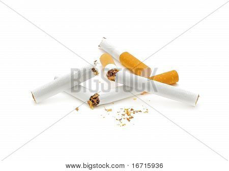 Give Up Smoking. Broken Cigarette On A White Background.