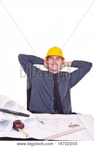 relaxed architect man in office