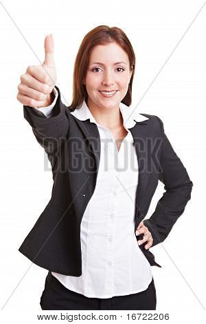 Business Woman Holding Thumbs Up