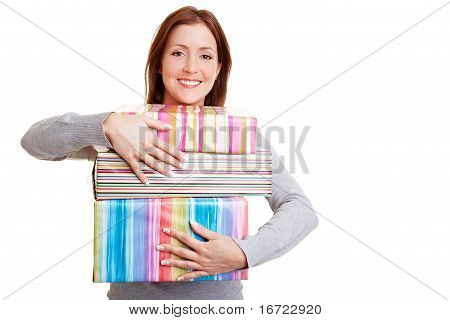 Woman Embracing Presents