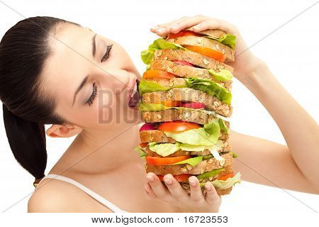 Girl Eating Sandwich, Big Bite