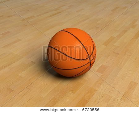 basketball game ball over the hardwood floor (3D)