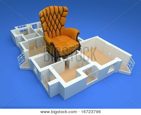 the modern flat with luxory armchair sketch 3d rendering