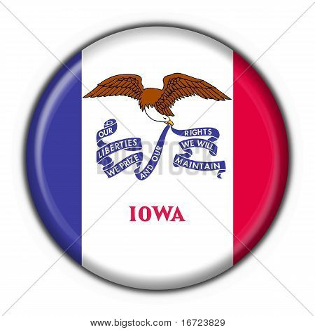 Iowa (usa State) Button Flag Round Shape