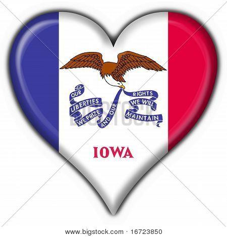Iowa (usa State) Button Flag Heart Shape