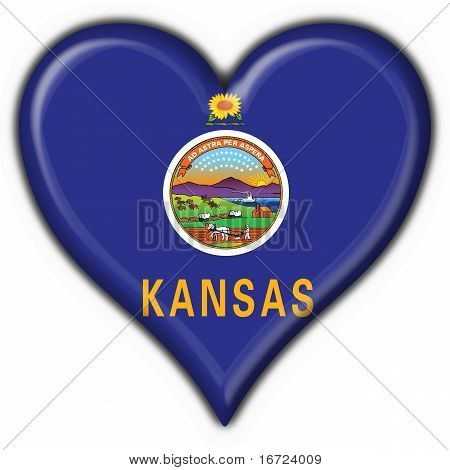 Kansas (usa State) Button Flag Heart Shape