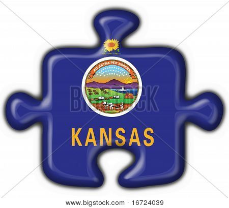 Kansas (usa State) Button Flag Puzzle Shape
