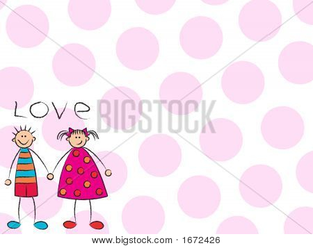 Boy + Girl = Love With Pink Background
