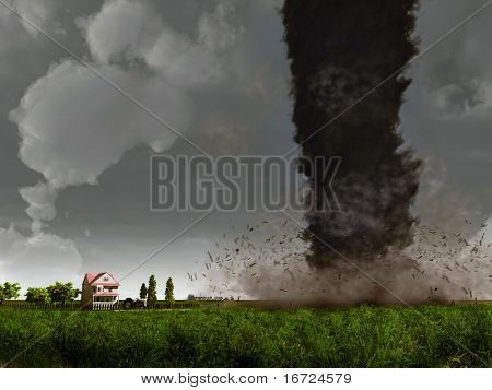 tornado,  approaching to country house (3D rendering)