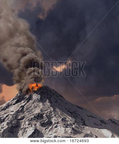 Ausbruch des Vulkans (3D-Rendering)