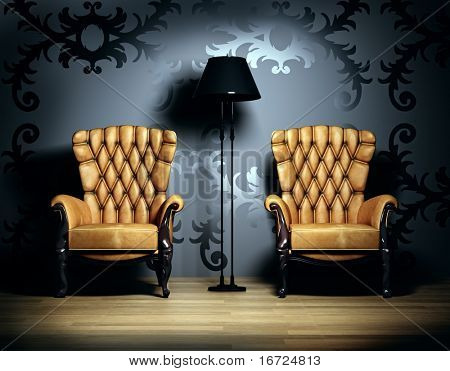 3D interior scene with classic armchairs and  floor lamp.