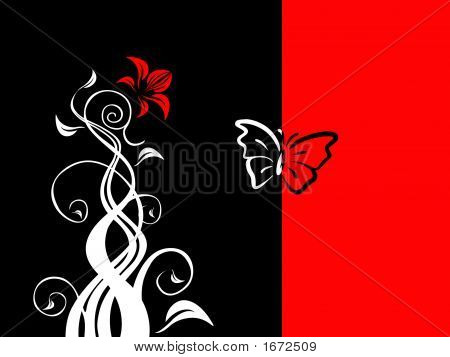 Floral Black Red White Background