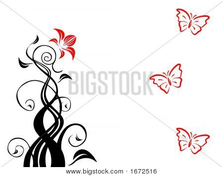 Floral Background With Butterflys