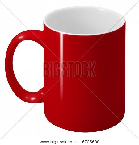 Red cup with path on the white background (isolated).