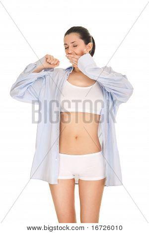 Yawning Stretching Woman