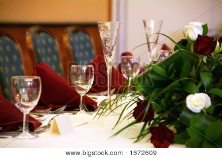 Wedding Table With Champagne Flutes