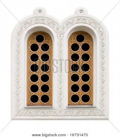 Paired windows isolated on white background.