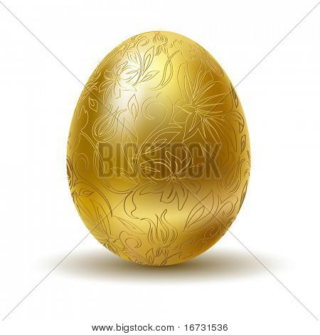 Golden egg on white background.