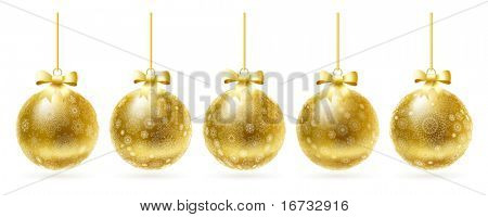 Golden realistic vector Christmas balls set.